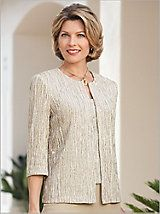 Glitter Knit Twin Set by Alex Evenings Mother Of The Groom Trouser Suits, Mother Of The Bride Suits, Mother Of Bride Outfits, Suit Fashion, Fashion Outfits, Wedding Pantsuit, Clothes For Women Over 50, Smart Outfit, Fashion For Petite Women