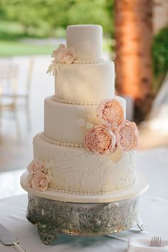Elegant wedding cake: blush pink peonies, blush roses, lace, and strings of fondant pearls | Chicago Botanic Garden Wedding | Jenelle Kappe Photography
