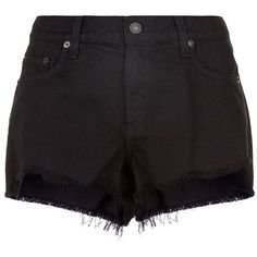 Rag & Bone Cut Off Denim Shorts (€160) ❤ liked on Polyvore featuring shorts, frayed jean shorts, cut-off shorts, frayed shorts, short jean shorts and slim fit denim shorts