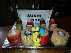The bunny peeps make Sushi at the Sushi Coop Resturant.