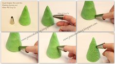 Wilton #21 icing tip and formed a ball of green modeling chocolate to look like a tree.
