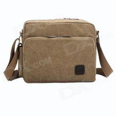 ManJiangHong Fashionable Men's Canvas Shoulder Bag - Khaki