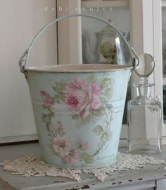 My Shabby Chic Style Vintage hand painted galvanized bucket is available at www.debicoules.com  and a very special sale too!