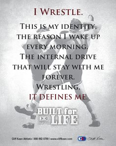 By far wrestling is the greatest thing to happen to me, there's nothing in the world that compares to wrestling! Wrestling made the person I am and wrestling will help get through the rest of my life Wrestling Rules, Olympic Wrestling, Wrestling Posters, Wrestling Shirts, Wrestling News, Wrestling Workout, College Wrestling, Wrestling Videos, College Football