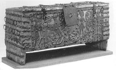Voxtorp Chest, Statens Historiska Museum, Stockholm, 4094. Constructed early 13th Century. The through-mortise is clearly visible between the iron banding ...