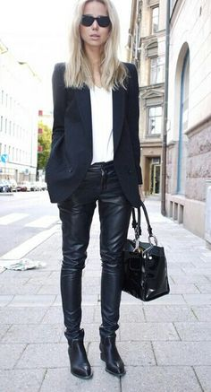 White Silk Blouse; Country Road Black Blazer; Country Road Black Leather Pants; Witchery Black Ashley Ankle Boots.
