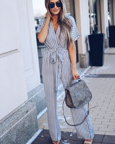 Fashion Trend to Love - Spring Stripes! Leather Jumpsuit, Jumpsuit Dressy, Jumpsuit Outfit, Striped Jumpsuit, Summer Jumpsuit, Overalls Outfit, White Jumpsuits And Rompers, Rompers Women, Jumpsuits For Women