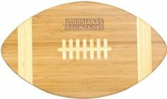 NCAA Louisiana Lafayette Ragin Cajuns Touchdown! Bamboo Cutting Board, 16-Inch by Picnic Time. $31.95. Great for game day. Measures 15 by 8-3/4 inches. Dark bamboo design with light bamboo inlays. Handsome cutting board in a football design with lazer engraved team logo. Bamboo is a renewable, sustainable resource. Perfect for game day, this Touchdown! cutting board from Picnic Time features  bamboo construction in a football silhouette with your team's lazer engraved logo....