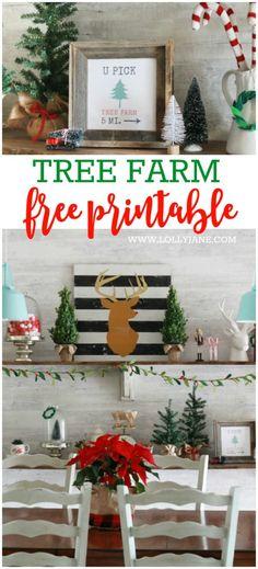 Cute tree farm free printable! Cute Christmas decor idea! Free Christmas printable! Love this free tree farm print!