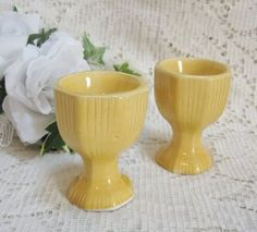 2 Vtg Japan Lego Egg Cups - Yellow Ceramic Egg Cup Servers, nice Vintage Touch $6.00