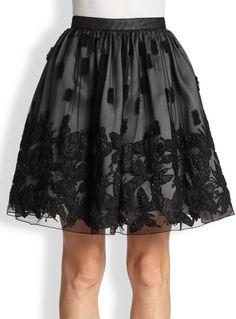 Alice + Olivia Pia Pouf Embellished Full Skirt in Black
