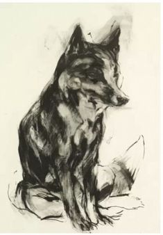 "Nicola Hicks, ""Fox,"" ed.21/30, 2006, etching, 30 x 22.25 in. #animalsinart"