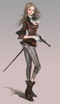 kinda steamy: Female Fighter - character concept art by Limha Lekan for Granado… Character Creation, Character Concept, Character Art, Concept Art, Character Ideas, Steampunk Characters, Fantasy Characters, Female Characters, Character Design Cartoon