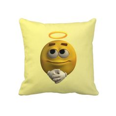 #Angelic Emoticon Throw #Pillows