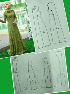 (POLA) Baju Kurung potongan puteri (princess cut) - Her Crochet Long Dress Patterns, Dress Sewing Patterns, Clothing Patterns, Sewing Clothes, Diy Clothes, Abaya Pattern, Muslim Dress, Brokat, Pattern Drafting