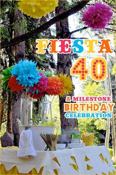Fiesta. Like the colorful flowers, the tall vases and the cut outs on tablecloth.