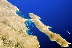 Kolona, Kythnos island, Greece, seen from above Sandy Beaches, Beautiful Islands, Explore, Landscape, Places, Water, Outdoor, Greek Isles, Greek