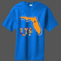 The State of Florida taken over with Gator Orange on a blue shirt with University of Florida UF Boat Flag Artwork for that True Gator Fan.