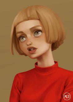 A girl in a red sweater, miji lee on ArtStation at https://www.artstation.com/artwork/XlQo0