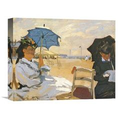 Global Gallery 'The Beach at Trouville 1870' by Claude Monet Painting Print on Wrapped Canvas
