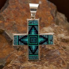 David Rosales Shalako Fancy Inlaid Sterling Silver Two-Sided Cross Pendant