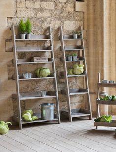 Wooden Aldsworth Shelf Ladder in Small or Large Bookshelf Design, Wooden Garden Storage, Storage Boxes Garden, Ladder Shelf, Wooden Ladder Shelf, Shelves, Slatted Shelves, Plant Stand, Indoor Furniture