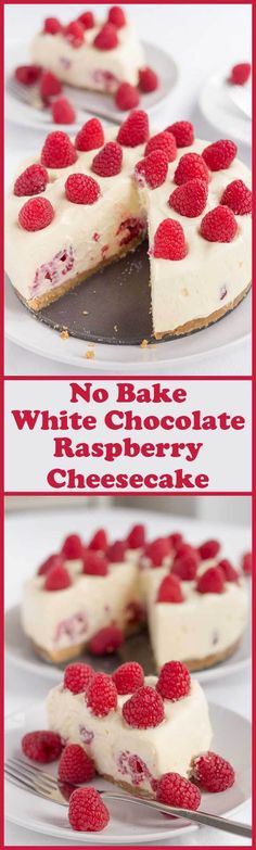 Indulge a little here with this no bake white chocolate and raspberry cheesecake. A tasty crunchy biscuit base covered in a light creamy white chocolate filling stuffed with fresh raspberries. christmas make,no bake desserts Cheesecake Recipes, Dessert Recipes, Oreo Cheesecake, Pumpkin Cheesecake, White Chocolate Raspberry Cheesecake, Raspberry Buttercream, Raspberry Recipes, Raspberry Popsicles, Raspberry Cobbler