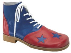 """Get ready to entertain in these oversized lace-up high tops! These playful clown shoes are two-toned in red and blue and feature three blue stars on the comically large front, 1-inch heel and 14 grommet lace-up closure. They are made from polyurethane and are extremely pliable, water-resistant and easily cleaned and maintained. These shoes are a must-have clown accessory! Standard, one size fits most adults. Length: 14.75"""", width at toe: 6.5""""."""