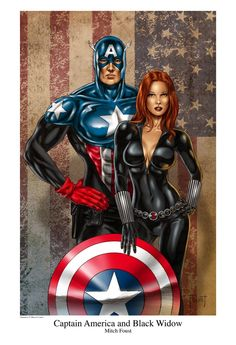 Black Widow and Captain America (Bucky Barns - Winter Soldier) Marvel Dc Comics, Marvel Fanart, Archie Comics, Marvel Avengers, All Marvel Heroes, Ms Marvel, Captain America Bucky, Captain Marvel, Captain America Black Widow