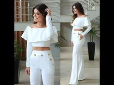 Women Floral Ruffle Hot Sexy Outfit Two-piece Off Shoulder Crop Top & Pants Set White Outfits, Casual Outfits, Fashion Outfits, Womens Fashion, White Outfit Party, Casual Dresses, Vetement Fashion, White Fashion, Couture Fashion