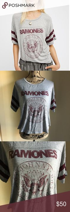 """Womens Free People Ramones Tee Style No. 42199133 ; Color Code:  Irresistibly soft and stretchy tee featuring a classic """"Ramones"""" band graphic with athletic-inspired stripes on the sleeves.  Made in LA Care/Import  Hand Wash Cold or Dry Clean  Made in the USA Free People Tops Tees - Short Sleeve"""