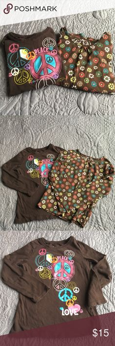 Children's Place bundle long sleeve shirts size 5 Children's Place bundle long sleeve shirts  size 5  2 long sleeve shirts  Peace - has no cracks but a little fuzzy - see picture  Flower- is in excellent condition   Pet free smoke free home  Thank you for visiting my closet ❤️ Please let me know if you have any questions Children's Place Shirts & Tops Tees - Long Sleeve
