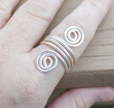 Wire Wrapped Ring Silver Wrap Around Spirals