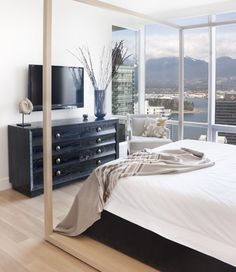 Love the simplicity of this master bedroom Bedroom Tv Wall, Home Bedroom, Master Bedroom, Beautiful Bedrooms, Beautiful Interiors, Interior Decorating, Interior Design, Bed Frame, Sweet Home