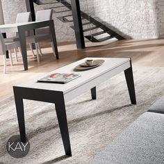 Mesa de centro elevable modelo A con las patas de metal para hacer juego con las patas metálicas de la Mesa de comedor