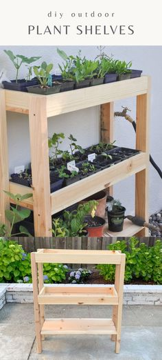 How to DIY outdoor plant shelf with 3 levels. Taking advantage of vertical space by building an outdoor shelf for plants is a great idea if you want to keep all your outdoor plants organized. It can also work as an indoor plant rack!