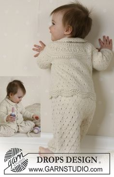 DROPS hentesett. Jakke med rundfelling, bukse, kyse, sokker, teppe i Alpaca, ball og rangle. ~ DROPS Design