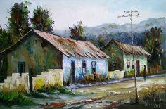 Nature Paintings, Landscape Paintings, Landscapes, Watercolor Landscape, Watercolor Paintings, Building Painting, Cottage Art, Tropical Art, House Landscape