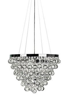Glass Chandelier Modern: Nice chandelier with lots of smooth glass drops. A pretty glass chandelier  with a touch of modern. Not for a dining room, but the eat-in kitchen part  of the ...,Lighting