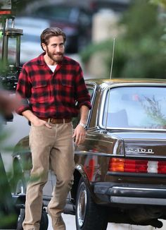Jake G. + vintage Mercedes on the set of Tom Ford's 'Nocturnal Animals'