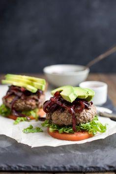 Paleo Burgers with Caramelized Balsamic Onions & Avocado
