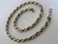 efa773a97a1 Cordão Masculino Trabalhado Mescla (Dourado e Prateado) Todo em Aço Inox 10  mm de espessura. Poucas unidades