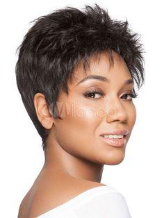 Human Hair Wigs Short Wavy Bouncy Black Women Short Hair   WigsAfricanAmerican  HairWomenStyle 0000b83015