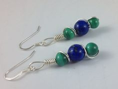 Lapis and Malachite Sterling Earrings on Etsy, $22.00 CAD