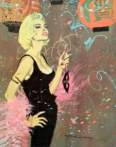 "New Years Eve - Pulp Art. Robert McGinnis illustration for cover of ""In a Deadly Vein,"" Robert Mcginnis, Arte Pulp Fiction, Art Pulp, Illustration Mode, Poster S, Print Poster, Pin Up Art, Potpourri, American Artists"