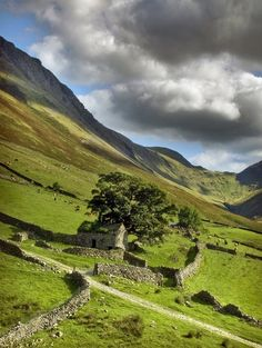 Something eerie and wild about this countryside; very beautiful Ancient Stone House, Yorkshire, England Yorkshire Dales, Yorkshire England, North Yorkshire, Cornwall England, The Places Youll Go, Places To See, England And Scotland, England Uk, Barns