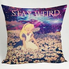 alice in wonderland stay weird galaxy pillow cases 20x20 two sides #Disney
