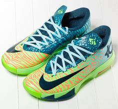 Nike KD 6 – Animal Gradient - i don't usually like 'candy store' color sneakers but this one is cool Kd Shoes, Sock Shoes, Cute Shoes, Me Too Shoes, Nike Shoes Cheap, Nike Shoes Outlet, Nike Kd Vi, Kevin Durant Shoes, Kd 6