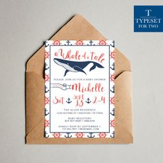 Blue and Red Whale Nautical Baby Shower by TypesetForTwo on Etsy