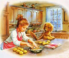 Girl Child Baking in the Kitchen with Curious Puppy Illustration ~ Marcel Marlier